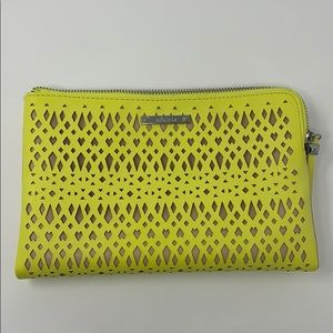 Stella & Dot Yellow Laser Cut Diamond Clutch Bag